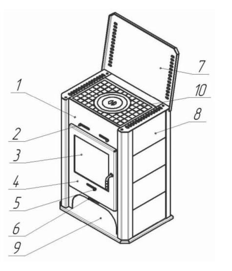 Основные элементы печи камина Бавария с плитой (арт ПКП 007)